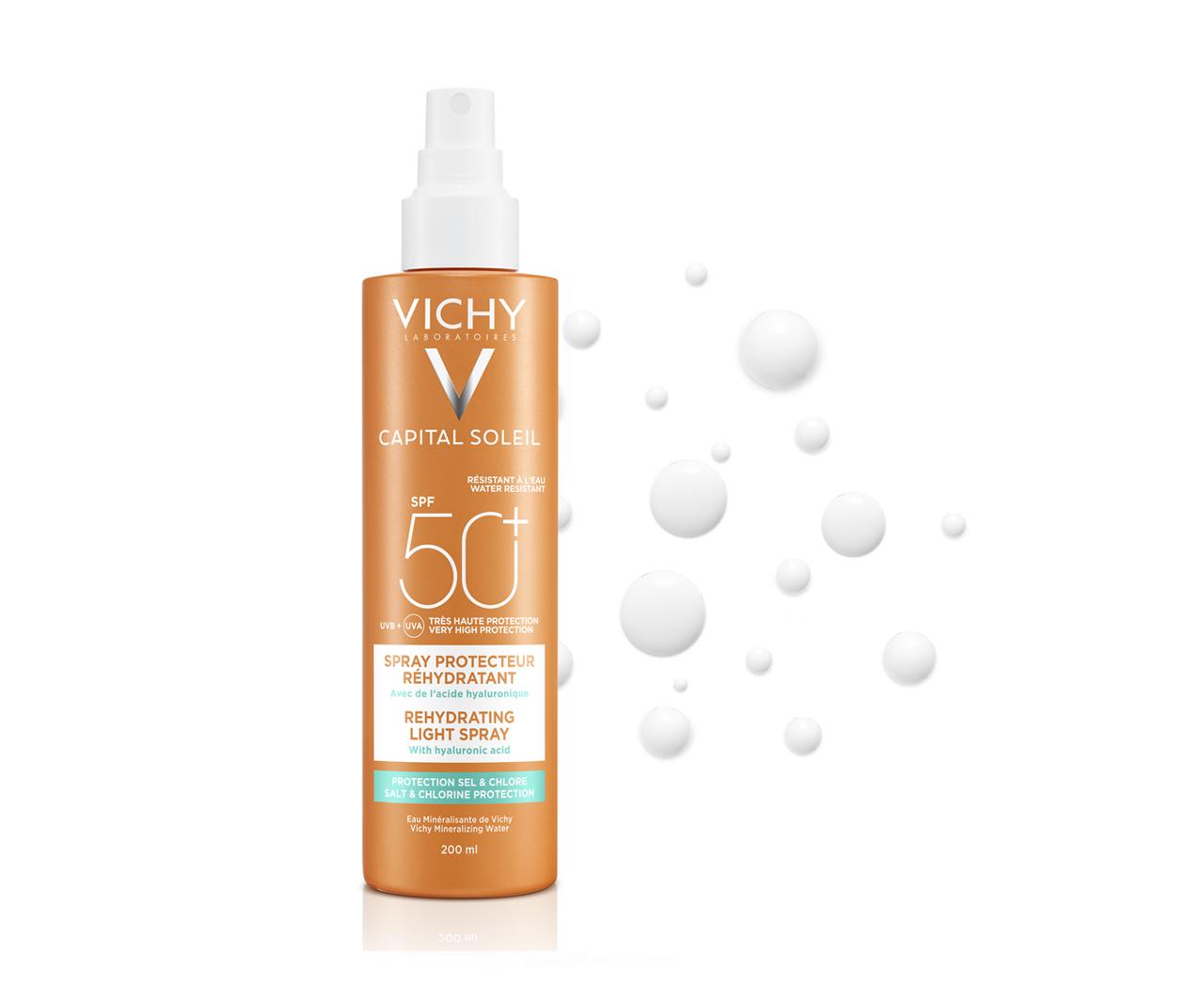 Hidratáló napvédő spray extra védelemmel a só és klór hatásai ellen SPF 50+