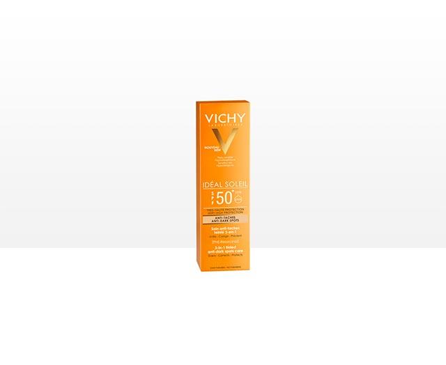 Színezett napvédő krém barna foltok ellen. SPF 50+